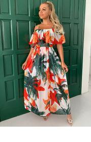 Joyfunear Ruffle One Shoulder Belted Floral Wrap Dress
