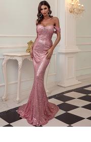 Missord Off Shoulder Mermaid Hem Sequin Dress