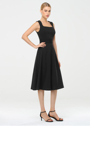 EVER-PRETTY Square Neck Pleated Waist Dress