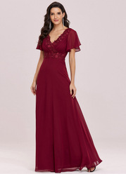EVER-PRETTY Floral Applique Double V Neck Chiffon Maxi Dress