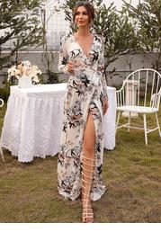 Missord Surplice Neck Belted Floral Prom Dress
