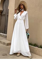 Missord Keyhole Neck Swiss Dot Dress