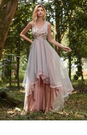 EVER-PRETTY Asymmetrical Hem Applique Prom Dress