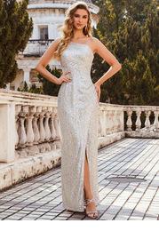 EVER-PRETTY One Shoulder Wrap Hem Sequin Prom Dress
