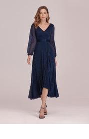 EVER-PRETTY Lantern Sleeve Ruffle Trim Chiffon Prom Dress