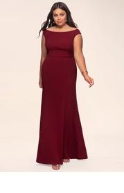 Blush Mark Plus Size Cherish Burgundy Stretch Crepe Maxi Dress
