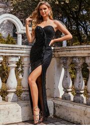 EVER-PRETTY Ruffle Trim Split Thigh Sequin Dress