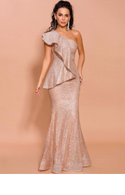Missord One Shoulder Exaggerated Ruffle Sequin Prom Dress