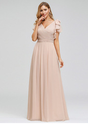 EVER-PRETTY Plus Size Ruffle Sleeve Ruched Bodice Evening Dresses