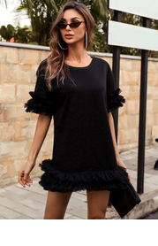 Missord Exaggerated Ruffle Detail Solid Tee Dress