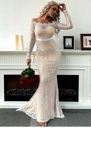 Missord Off Shoulder Ribbon Waist Lace Mermaid Dress