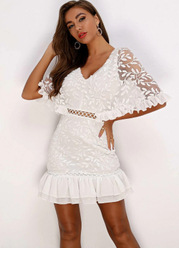 Joyfunear Ruffle Hem Batwing Sleeve Embroidery Mesh Dress