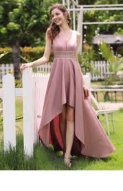 EVER-PRETTY Sequin Waist High Low Satin Formal Dress