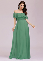 EVER-PRETTY Ruffle Off Shoulder Split Prom Dress