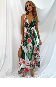 Joyfunear Crisscross Backless Floral Cami Dress