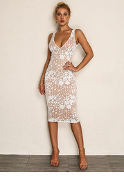 Joyfunear Embroidered Mesh Overlay Tank Dress