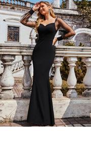 EVER-PRETTY Mesh Sleeve Mermaid Hem Dress