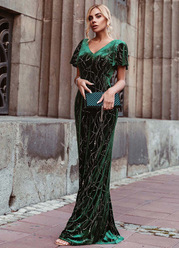 EVER-PRETTY Flutter Sleeve Contrast Sequin Velvet Prom Dress