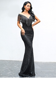 Missord Mesh Insert Fringe Trim Sequin Maxi Dress