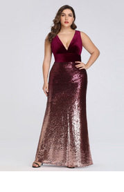 EVER-PRETTY Plunging Neck Velvet Bodice Sequin Prom Dress
