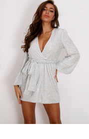 Joyfunear Plunging Neck Lantern Sleeve Sequin Belted Dress