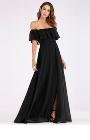 EVER-PRETTY Ruffle Off Shoulder Split Prom Dress