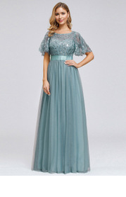 EVER-PRETTY Embroidery & Sequin Bodice Mesh Dress