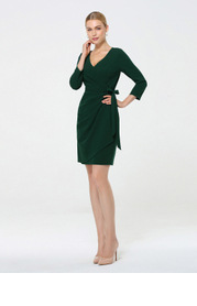 EVER-PRETTY Wrap Tie Side Fitted Dress