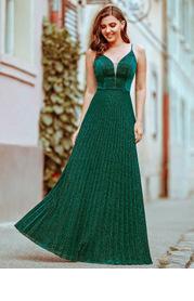 EVER-PRETTY Mesh Insert Pleated Hem Glitter Dress