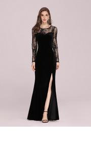 EVER-PRETTY Lace Yoke Split Thigh Velvet Prom Dress