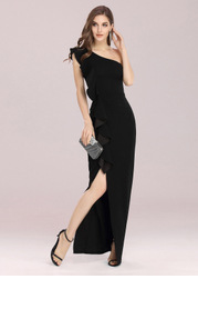 EVER-PRETTY One Shoulder Ruffle Trim Split Thigh Dress