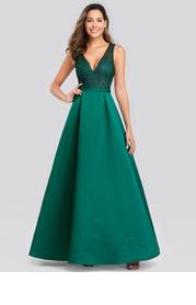 EVER-PRETTY Sequin Mesh Bodice Satin Prom Dress