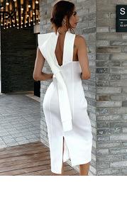 Missord Big Bow Back Halterneck Pencil Dress