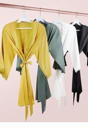 Snow-Lace Satin Robe