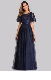 EVER-PRETTY Embroidery & Sequin Bodice Mesh Dress