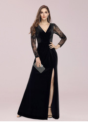 EVER-PRETTY Sheer Lace Sleeve Ruched Split Thigh Velvet Prom Dress