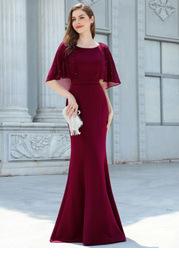 EVER-PRETTY Rhinestone Cloak Sleeve Mermaid Hem Prom Dress