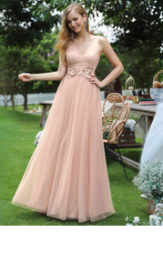 EVER-PRETTY Embroidered Flower Glitter Mesh Prom Dress