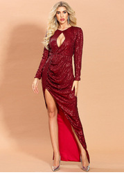 Missord Cut-out Split Thigh Sequin Dress