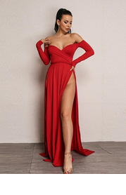 Joyfunear High Split Bardot Surplice Dress
