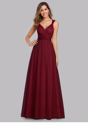EVER-PRETTY Shirred Back Empire Waist Glitter Mesh Dress