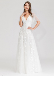 EVER-PRETTY Flutter Sleeve Embroidered Mesh Prom Dress