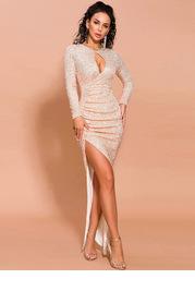 Missord Cut-out Front Asymmetrical Hem Sequin Dress