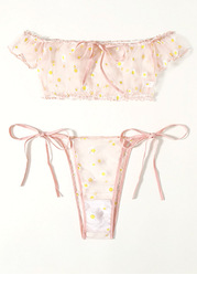 Pink Daisy Lingerie Set