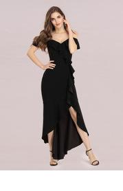EVER-PRETTY Cold Shoulder Ruffle Trim Prom Dress