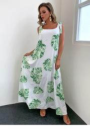 Joyfunear Knotted Shoulder Jungle Leaf Print Cami Dress