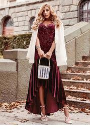 EVER-PRETTY Velvet Mermaid Hem Sequin Prom Dress