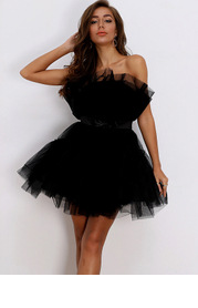 Joyfunear Bow Front Layered Tube Tulle Dress