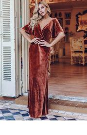 EVER-PRETTY Surplice Neck Flutter Sleeve Velvet Dress