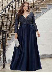 EVER-PRETTY Plus Size Elegant V-Neck Sequin Maxi Dress